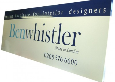 Vinyl graphics applied to aluminium composite trays for fascia signs