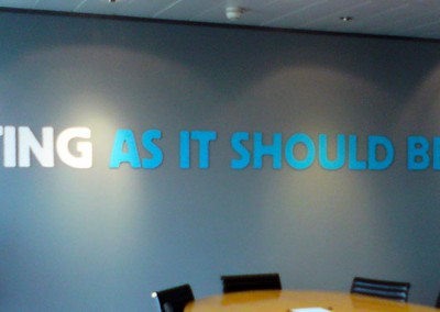 Vinyl lettering used for wall murals for you board or meeting rooms