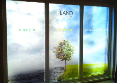 Fully printed window vinyl, custom vinyl graphics printed to specific designs and frosted laminate