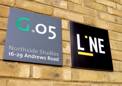 Aluminium signs with vinyl graphic to face and blind fixings