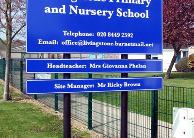 Post and plate school signs with vinyl graphics by Aspect Signs & Engraving. Sign Makers London