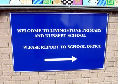 School signs made from aluminium composite with vinyl graphics to face by Aspect Signs & Engraving. Sign Makers London