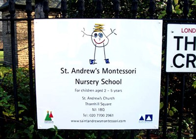 Signs for schools and nurseries, aluminium panel affixed to railings by Aspect Signs & Engraving. Sign Makers London