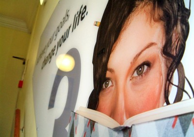 Vinyl graphics on acrylic great for branding communal areas
