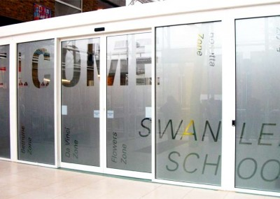 Frosted vinyl graphics applied to school entrance