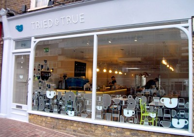 Café Signs with vinyl graphics by Aspect Signs & Engraving. Sign Makers London