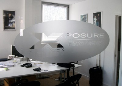 Frosted vinyl graphics applied to office windows