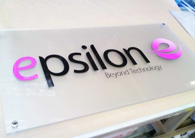 Company name plaques made from acrylic and vinyl making perfect office signs