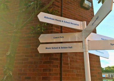 Aluminium finger post signs for schools and parks.