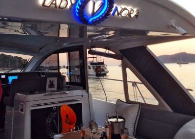 3D letters with illumination installed by Aspect Signs & Engraving on a yacht