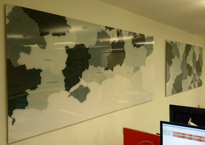 Acrylic wall murals with custom graphics to rear by Aspect Signs & Engraving. Sign Makers London