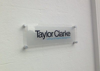Acrylic Sign with vinyl graphics to rear and stand off fittings